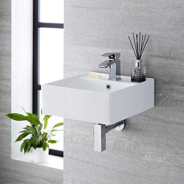 Lave-main suspendu moderne – Blanc – 40 cm x 40 cm (1 trou) - Halwell