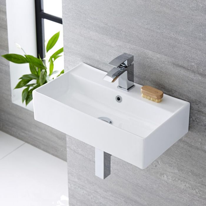 Vasque suspendue moderne – Blanc – 55 cm x 31 cm (1 trou) - Halwell