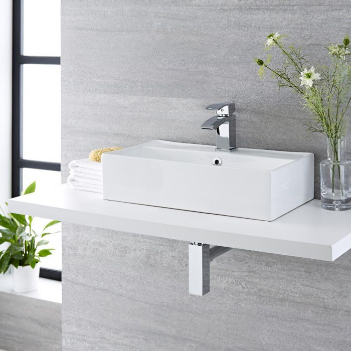 Vasque à poser - 55 x 31 cm - Halwell & Mitigeur - Wick