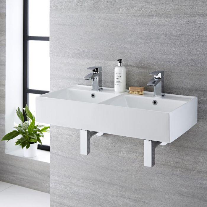 Double vasque suspendue moderne – Blanc – 82 cm x 42 cm (2 trous) - Halwell