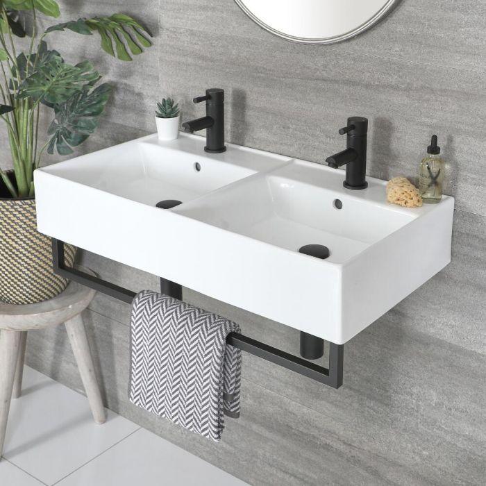 Double vasque suspendue rectangulaire – Blanc – 82 cm x 42 cm – Porte-serviettes noir – Sandford