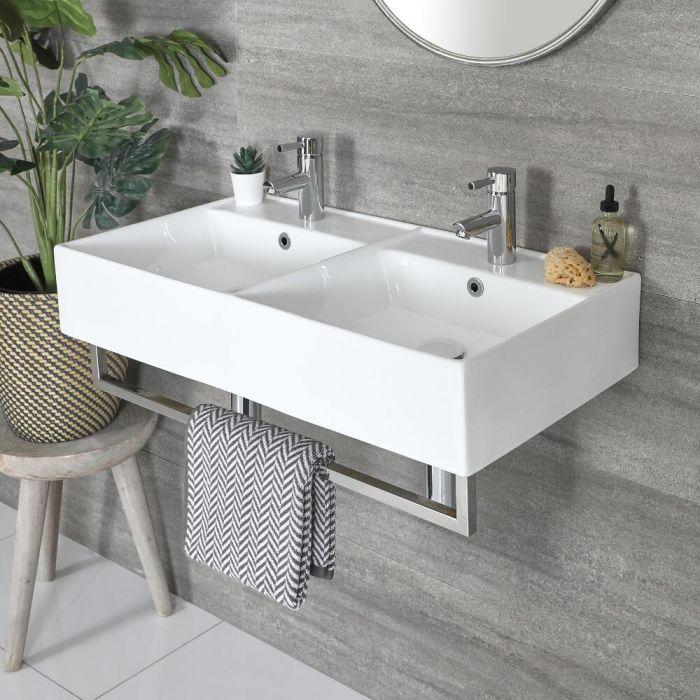 Double vasque suspendue rectangulaire – Blanc – 82 cm x 42 cm – Porte-serviettes chromé – Sandford