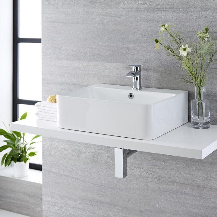 Vasque à poser rectangulaire - 52 x 42 cm - Exton & Mitigeur - Razor