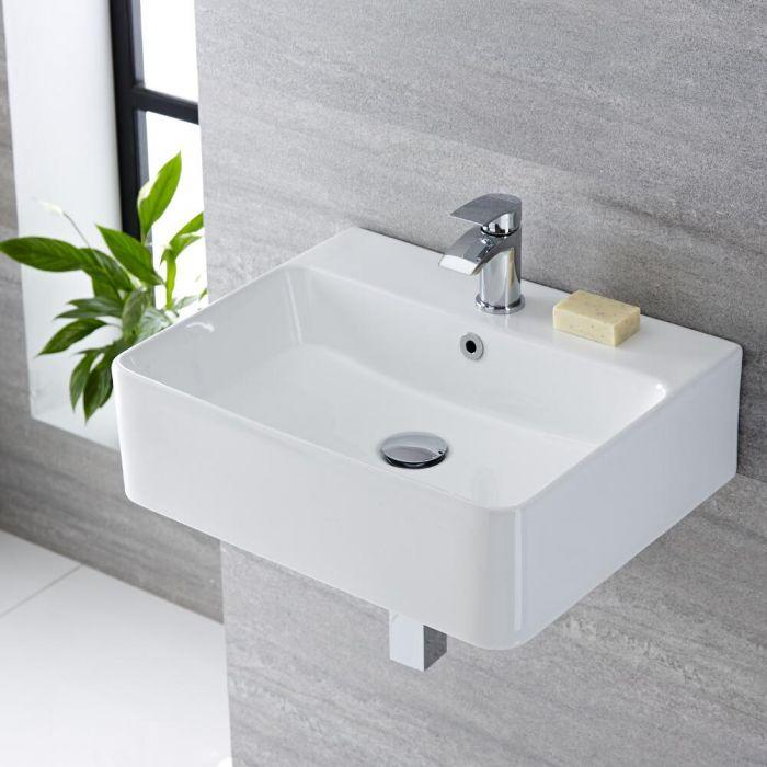 Vasque suspendue moderne – Blanc – 52 cm x 42 cm (1 trou) - Exton