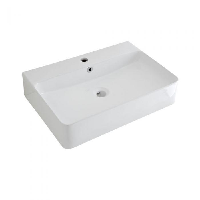 Vasque à poser rectangulaire avec mitigeur – Blanc – 60 cm x 42 cm - Exton