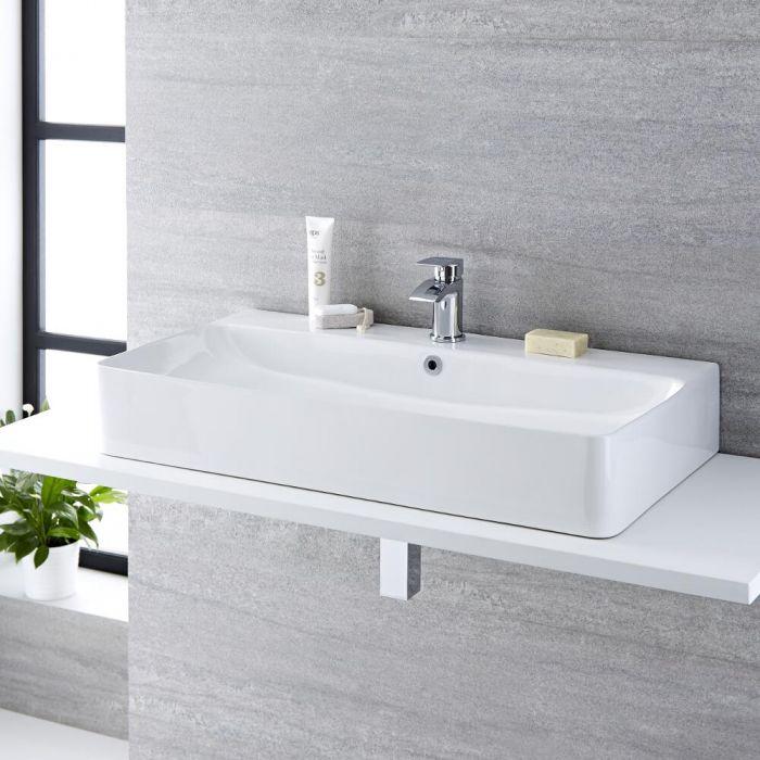 Vasque à poser rectangulaire - 80 x 41,5 cm - Exton & Mitigeur - Razor