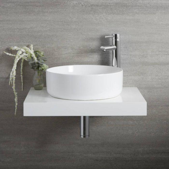 Vasque à poser ronde moderne – Blanc – Ø 39,5 cm – Non percée – Sphere