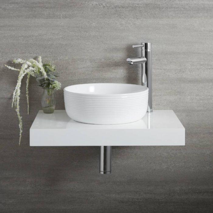 Vasque à poser ronde moderne – Bord cannelé – Blanc – Ø 36 cm – Non percée - Sphere