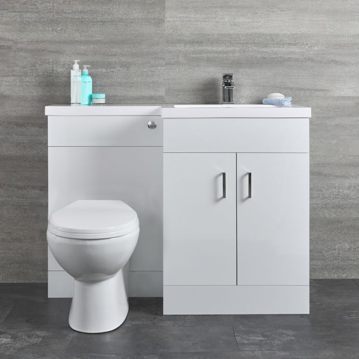 Meuble WC & lavabo – Blanc – Geo