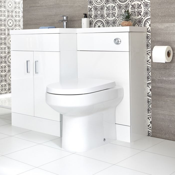 Ensemble WC avec lavabo à gauche – Blanc – Geo