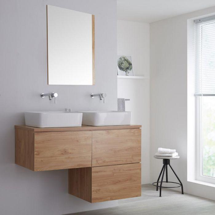 Meuble double vasque à poser - Blanc & chêne doré Newington - 120cm