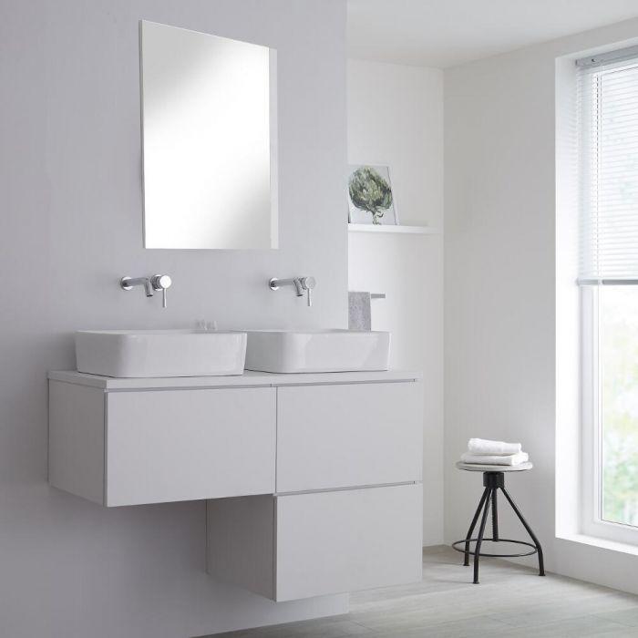 Meuble double vasque suspendu avec vasques à poser – Blanc – 120 cm - Newington