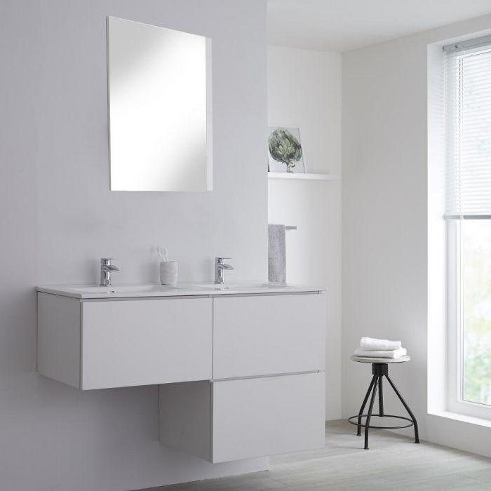 Meuble double vasque suspendu avec plan vasque – Blanc – 120 cm - Newington