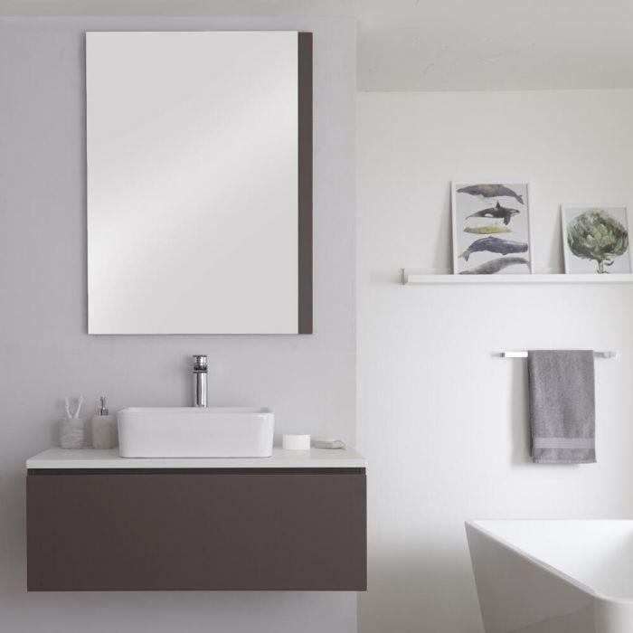 Meuble pour vasque à poser 100cm Gris & Blanc Newington