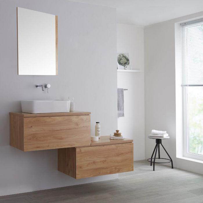 Meuble pour vasque à poser - 140 cm - Effet chêne doré - Newington