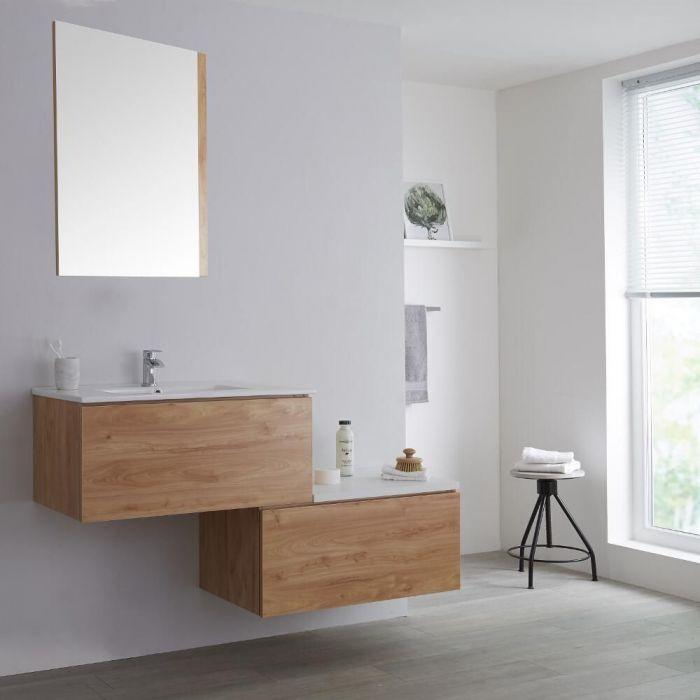 Meuble salle de bain avec vasque - 140 cm - Effet chêne & blanc - Newington