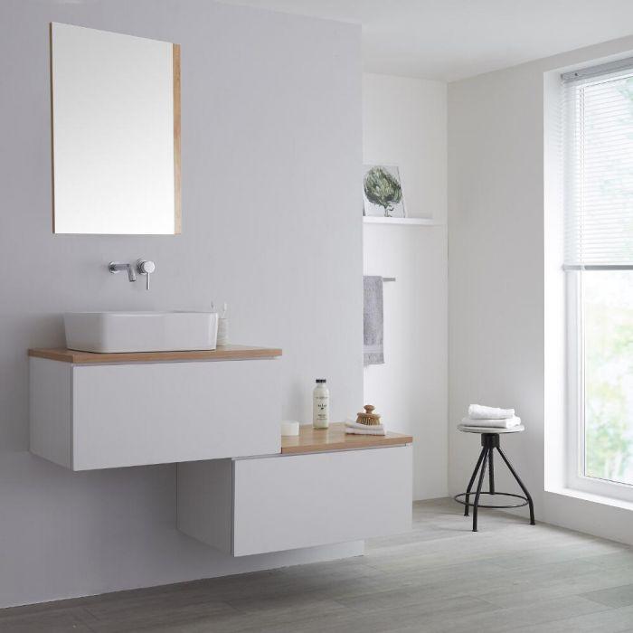 Meuble pour vasque à poser - 140 cm - Blanc & effet chêne doré - Newington