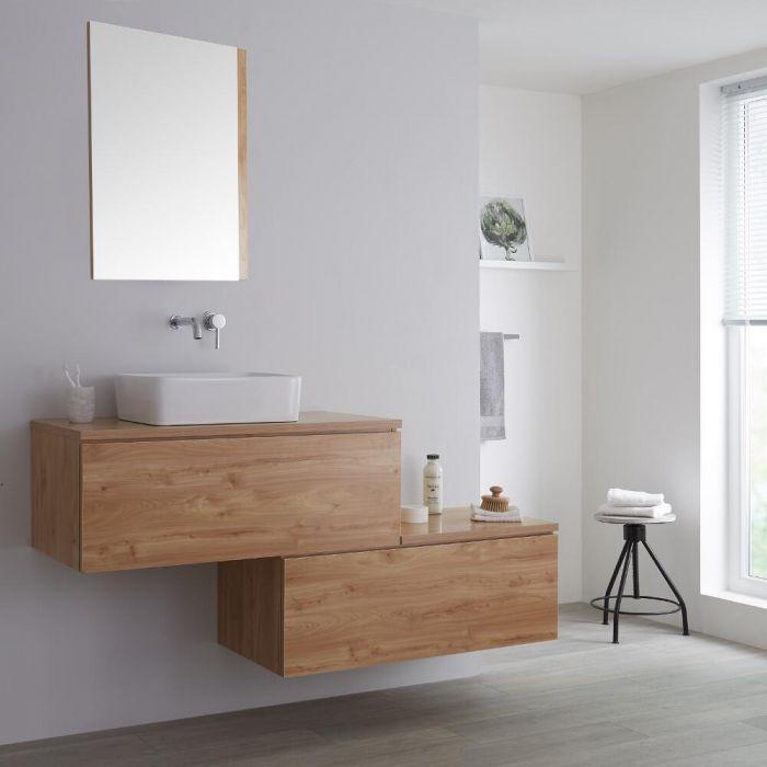 Meuble pour vasque à poser - Effet chêne doré - 160 cm - Newington