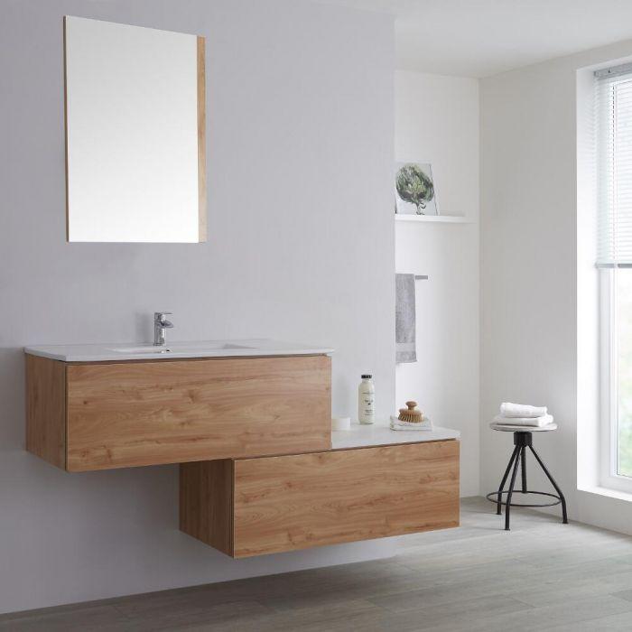 Meuble salle de bain avec vasque encastrée - 160 cm - Effet chêne - Newington