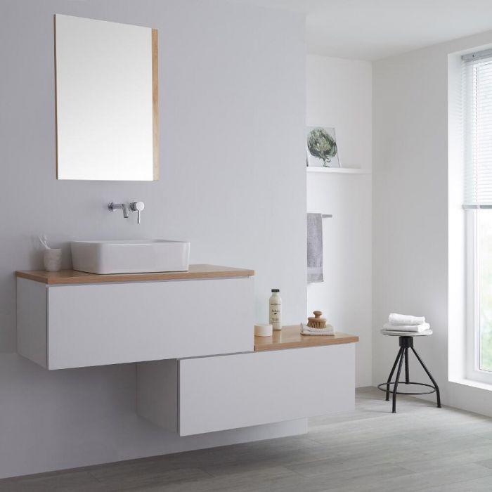 Meuble salle de bain avec vasque à poser - 160 cm - Blanc & effet chêne doré - Newington