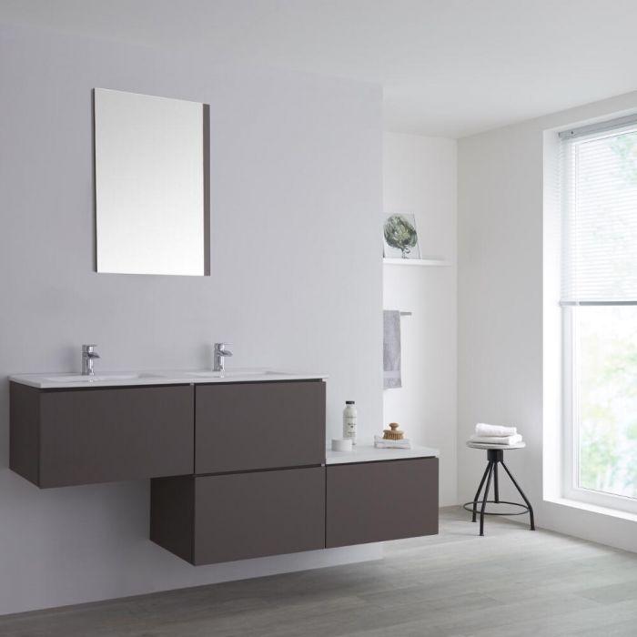 Meuble double vasque suspendu asymétrique avec plan vasque – Gris – 180 cm - Newington