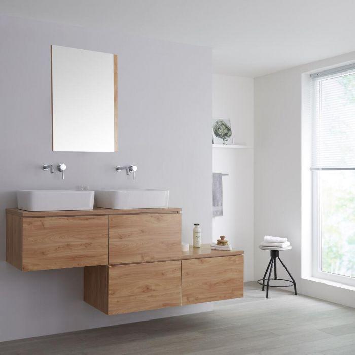 Meuble double vasque suspendu asymétrique avec vasques à poser – Effet chêne doré – 180 cm - Newington