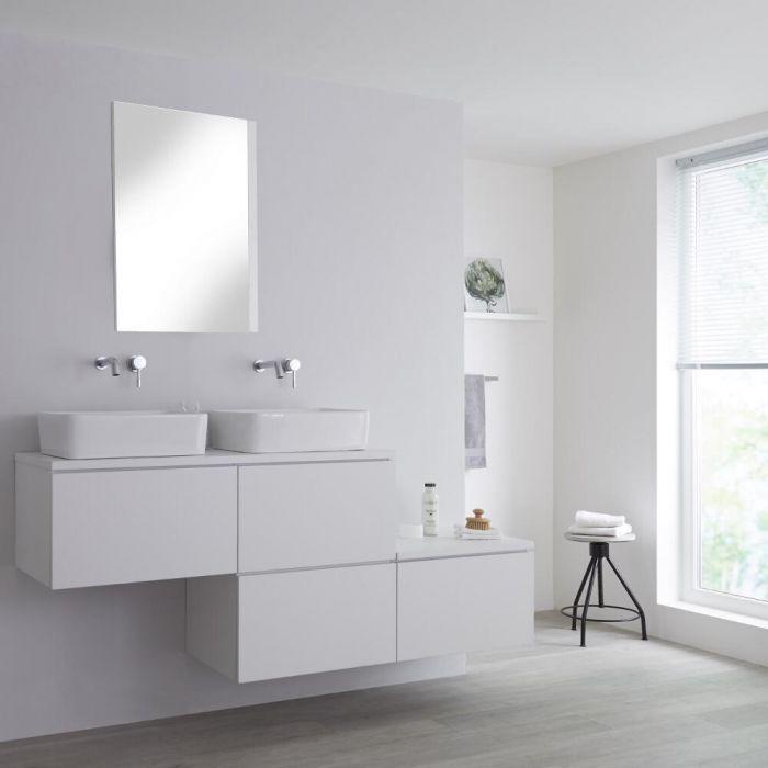 Meuble double vasque suspendu asymétrique avec vasques à poser – Blanc – 180 cm – Newington