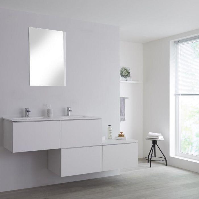 Meuble double vasque suspendu asymétrique avec plan vasque – Blanc – 180 cm - Newington