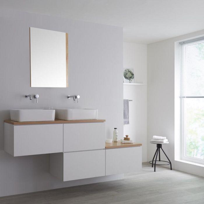 Meuble double vasque suspendu asymétrique avec vasques à poser – Blanc et effet chêne doré – 180 cm – Newington