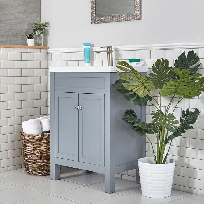 Meuble lavabo – 60 cm – Gris clair - Warwick