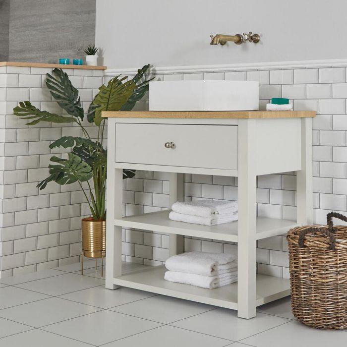 Meuble sous lavabo avec vasque carrée – 84 cm – Blanc crème - Stratford