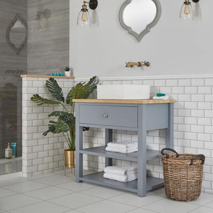 Meuble sous lavabo avec vasque carrée – 84 cm – Gris clair - Stratford