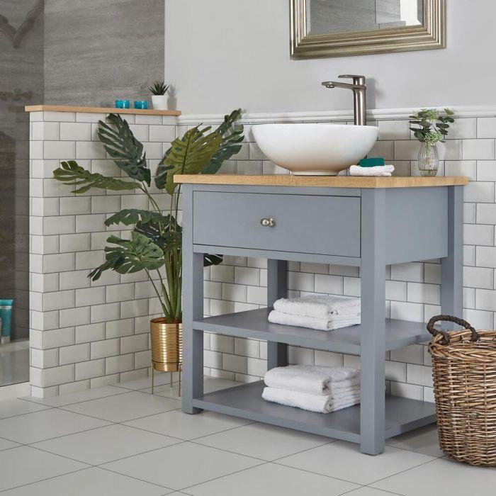 Meuble sous lavabo avec vasque ronde – 84 cm – Gris clair - Stratford