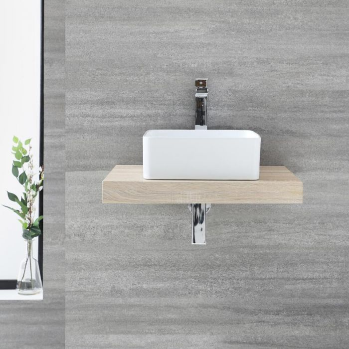 Plan vasque - Fffet chêne - 60 cm – Cluo & Vasque à poser - Milton