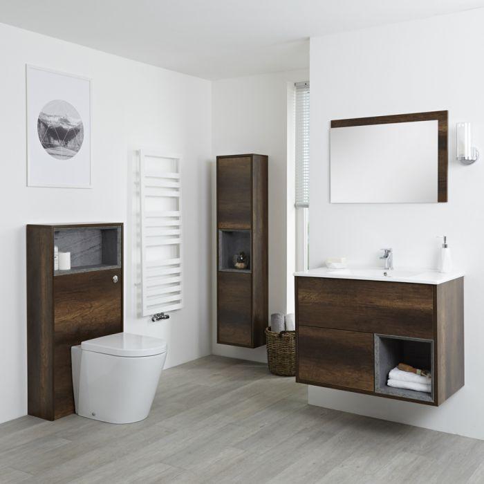 Ensemble de meubles de salle de bain - Meuble-lavabo, colonne de rangement, miroir & pack WC - Chêne Foncé Hoxton