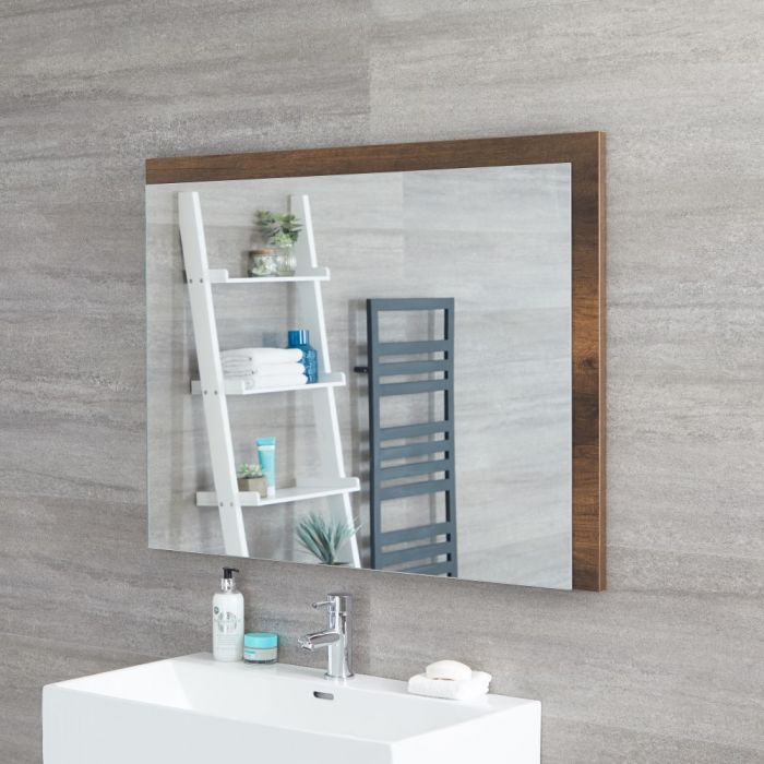 Miroir – Effet chêne foncé – 100 cm x 75 cm - Hoxton
