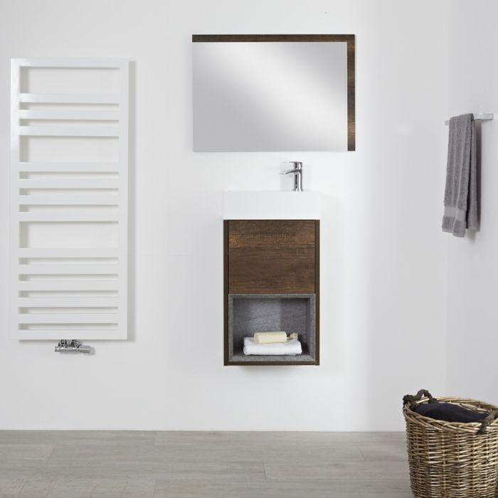 Meuble lave-main suspendu – 40 cm – Effet chêne foncé – Hoxton