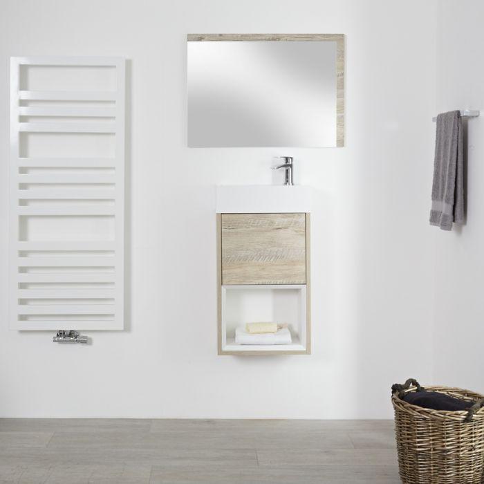 Meuble lave-main suspendu – 40 cm – Effet chêne clair – Hoxton