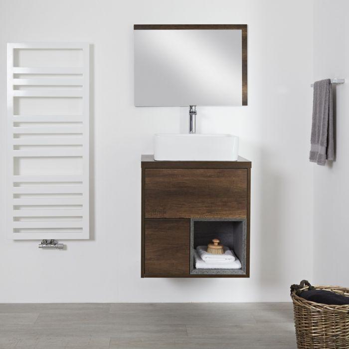 Meuble salle de bain chêne foncé avec vasque à poser - 60cm - 2 tiroirs & niche - Hoxton