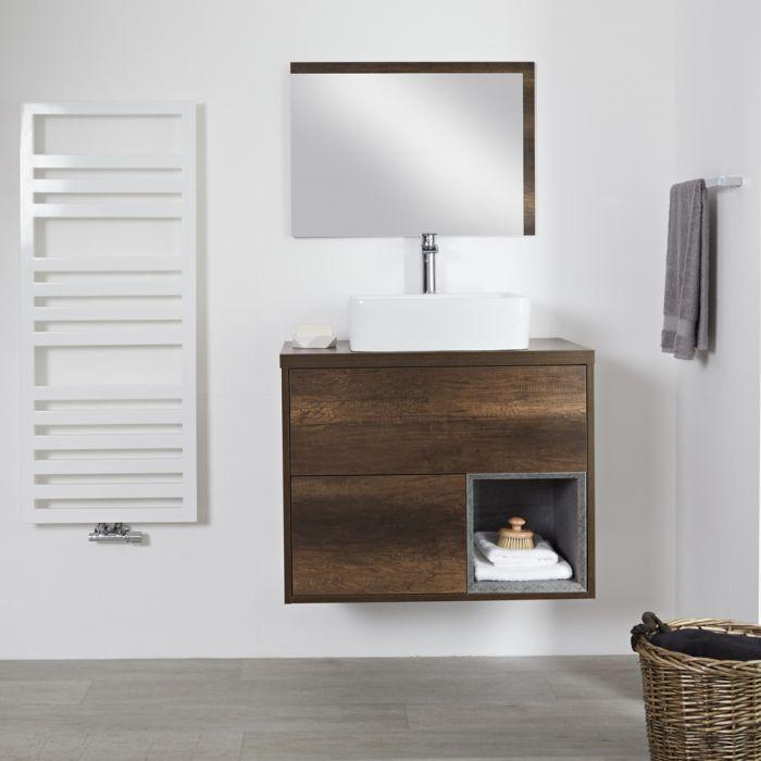 Meuble salle de bain chêne foncé avec vasque à poser - 80cm - 2 tiroirs - Hoxton