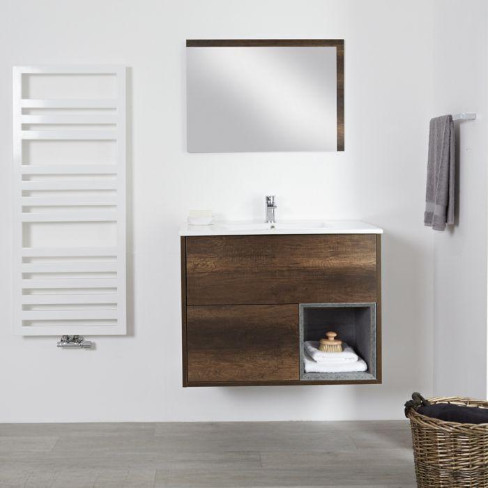 Meuble salle de bain chêne foncé avec vasque encastrée - 46,5 x 81cm - Hoxton