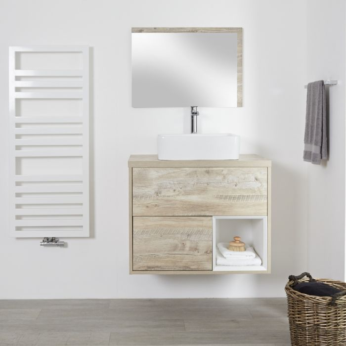 Meuble salle de bain chêne clair avec vasque à poser - 80cm - 2 tiroirs - Hoxton