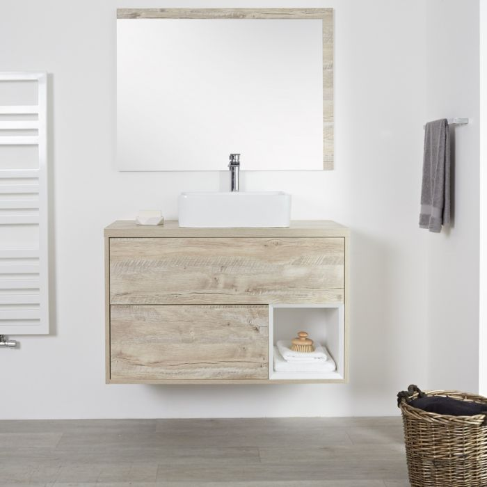 Meuble salle de bain chêne clair avec vasque à poser - 100cm - 2 tiroirs - Hoxton