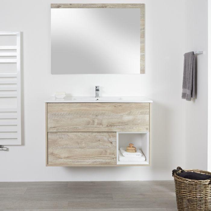 Meuble lavabo - 46.5x101cm - Chêne clair - Hoxton