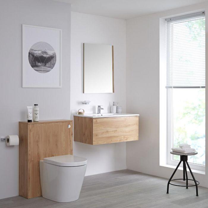 Meuble lavabo suspendu et meuble WC avec cuvette à poser – 80 cm – Effet chêne doré - Newington