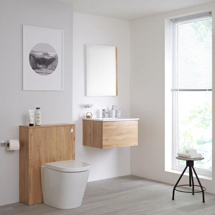 Meuble lavabo suspendu et meuble WC avec cuvette à poser – 60 cm – Effet chêne doré - Newington