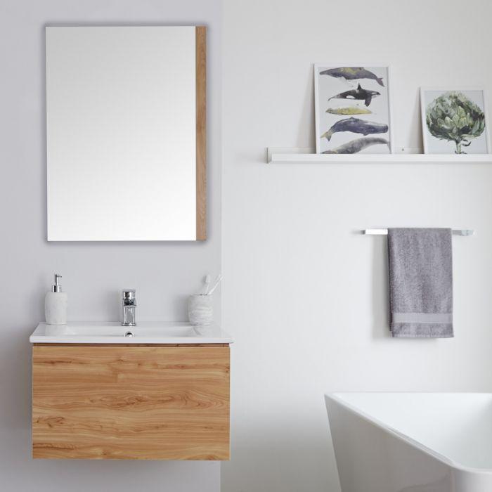 Meuble lavabo suspendu avec lavabo – Effet chêne doré – 60 cm - Newington