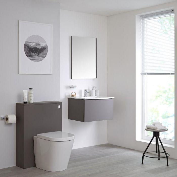 Meuble lavabo suspendu et meuble WC avec cuvette à poser – 60 cm – Gris - Newington
