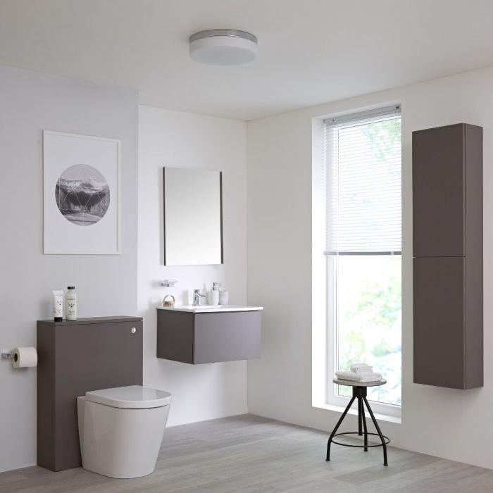 Ensemble meuble salle de bain - Lavabo suspendu - Meuble WC - Cuvette WC à poser - Colonne de rangement - Miroir – 60 cm – Gris mat – Newington