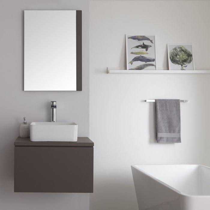 Meuble salle de bain suspendu avec vasque à poser carrée – Gris – 60 cm – Newington